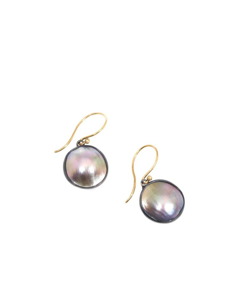Organic Shaped Mabe Pearl Earring in Oxidized Silver with 14ky Earwires