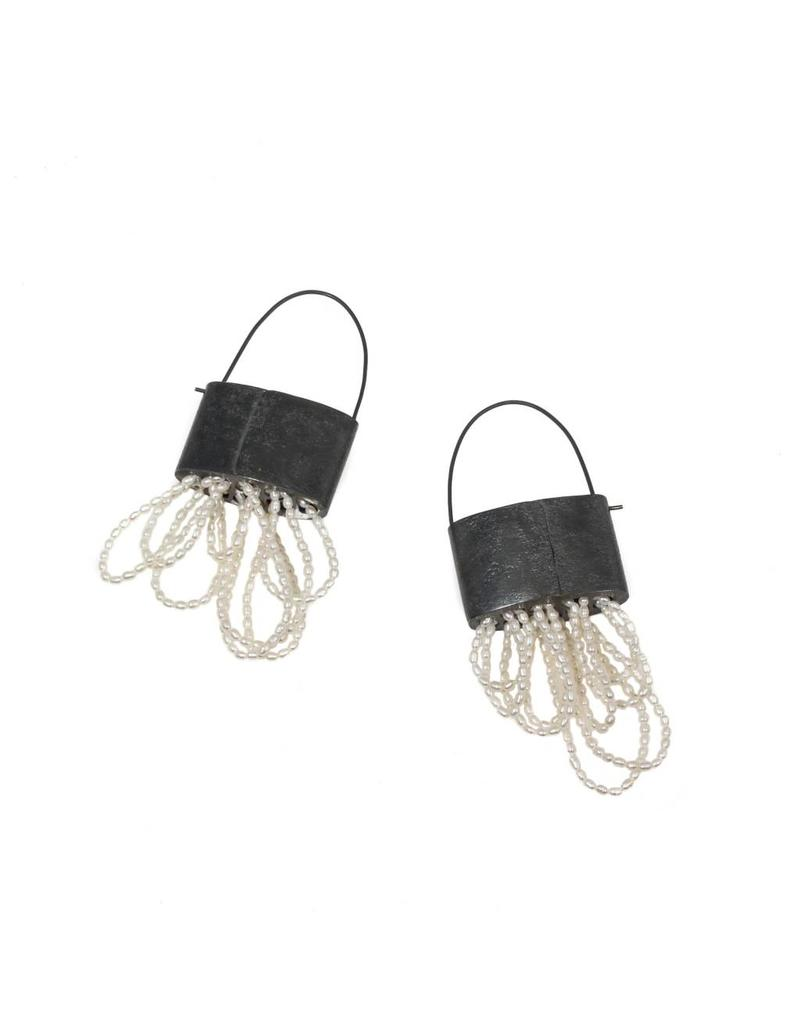 Basket Earrings in Silver with Woven Seed Pearls
