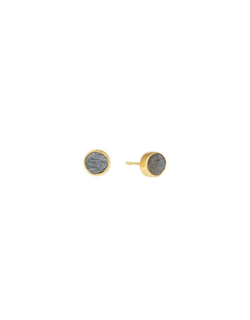 Hematite Gold Post Earrings in 18k Yellow Gold