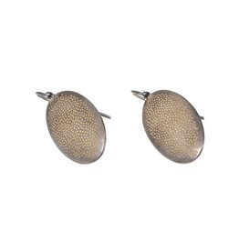 Small Perforated Beetle Drop Earrings in Oxidized Silver and 22k