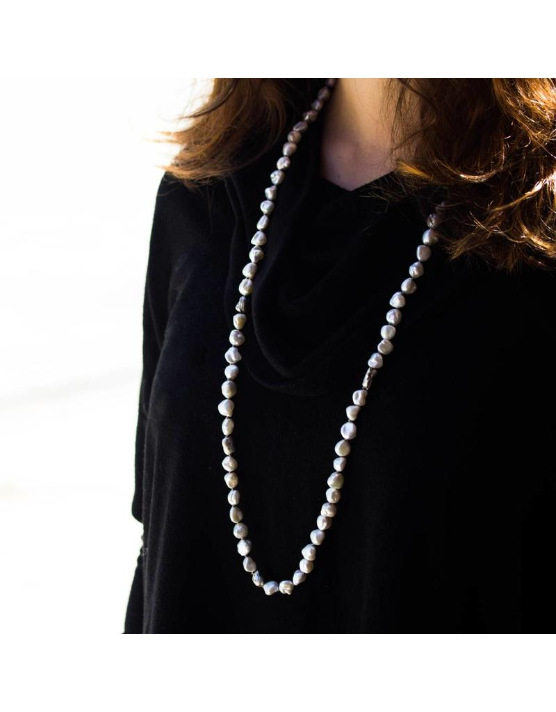 Keshi Pearl Necklace with Grey Diamonds set in Organic Silver Beads