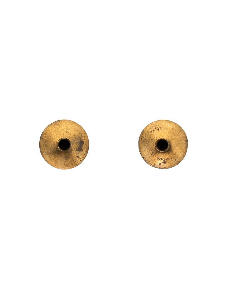 Brass and Silver Post Earrings with Hole