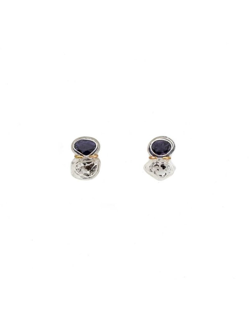 Iolite and Quartz Crystal Post Earrings