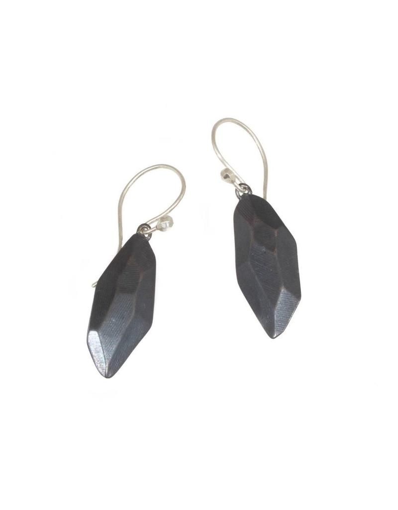 Flat Faceted Earrings in Oxidized Silver