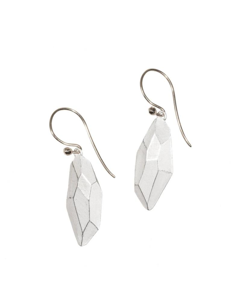 Flat Faceted Earrings in Silver