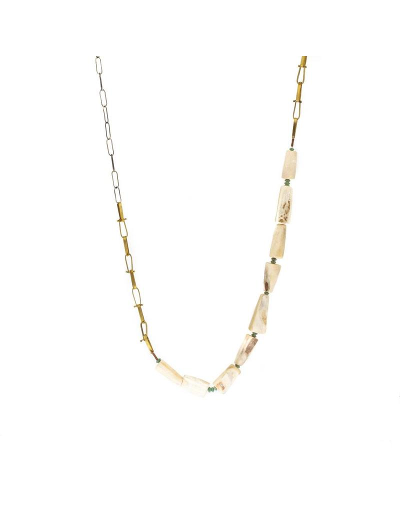 Necklace with Antler in Brass and Silver