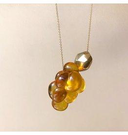 Christina Odegard Matin Amber Cluster 18k Yellow Gold Facet Bead Necklace