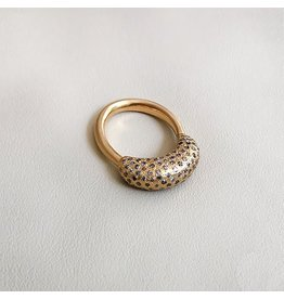 Christina Odegard Matin Épaisse Ring with Gray Diamonds in 18k yellow Gold