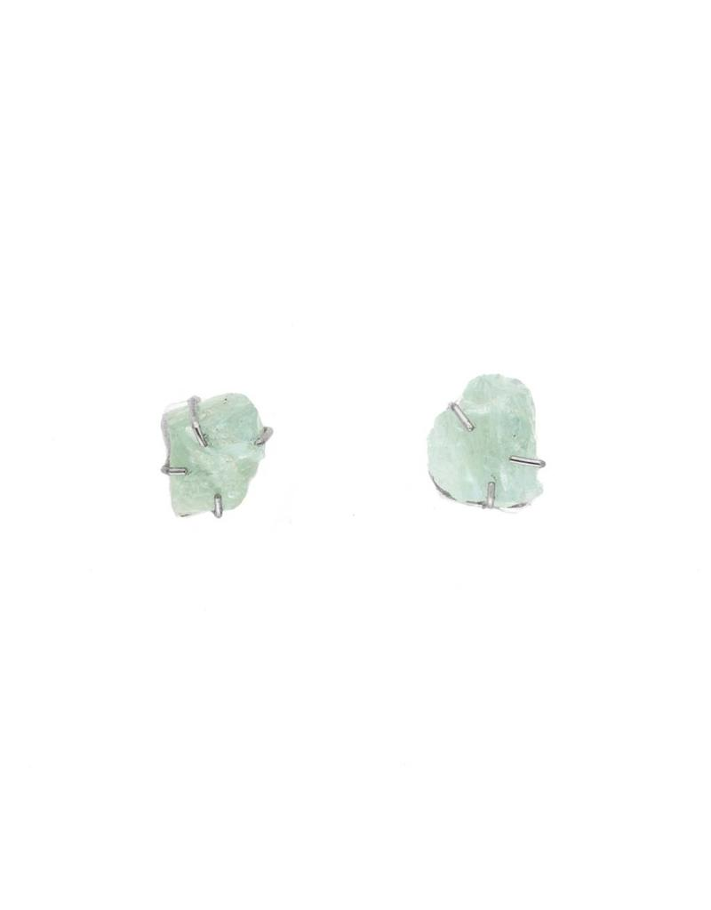 Rough Aquamarine Post Earrings in Silver and Palladium