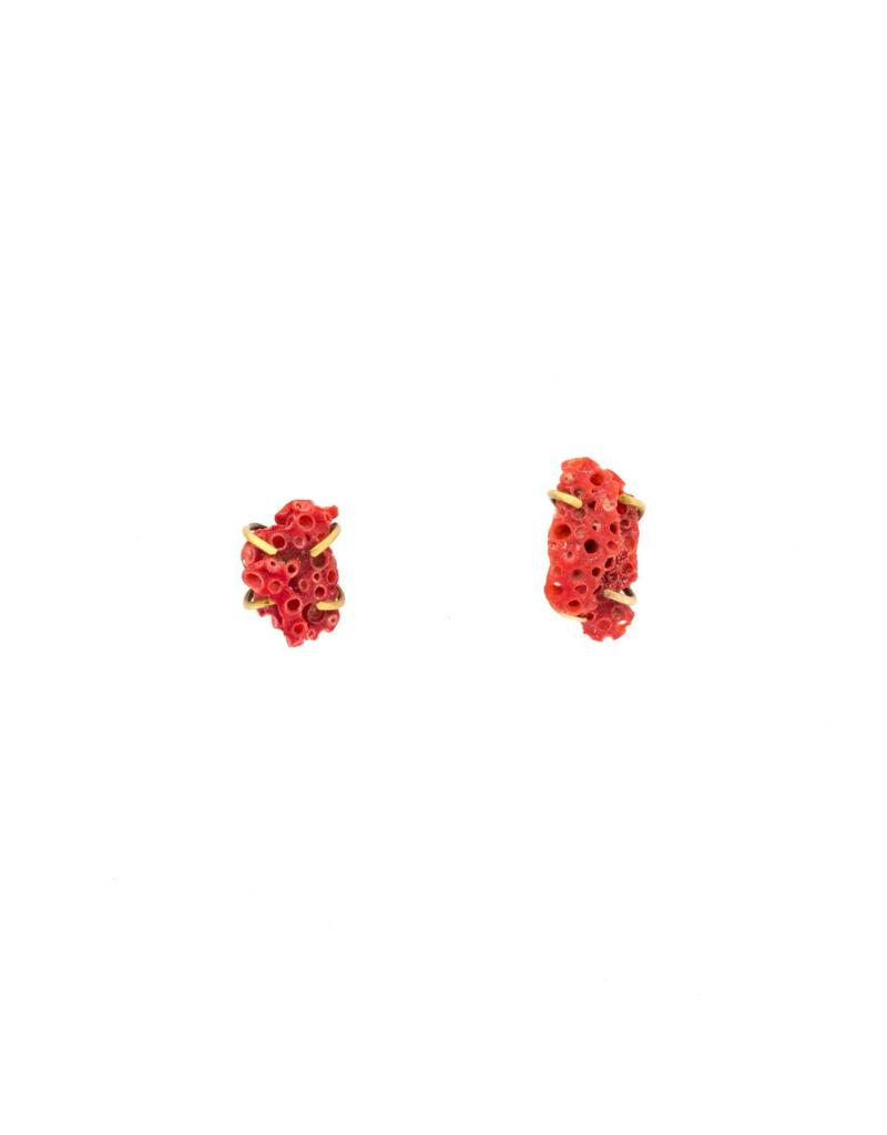 Rough Coral Post Earrings in 18k Gold and Oxidized Silver