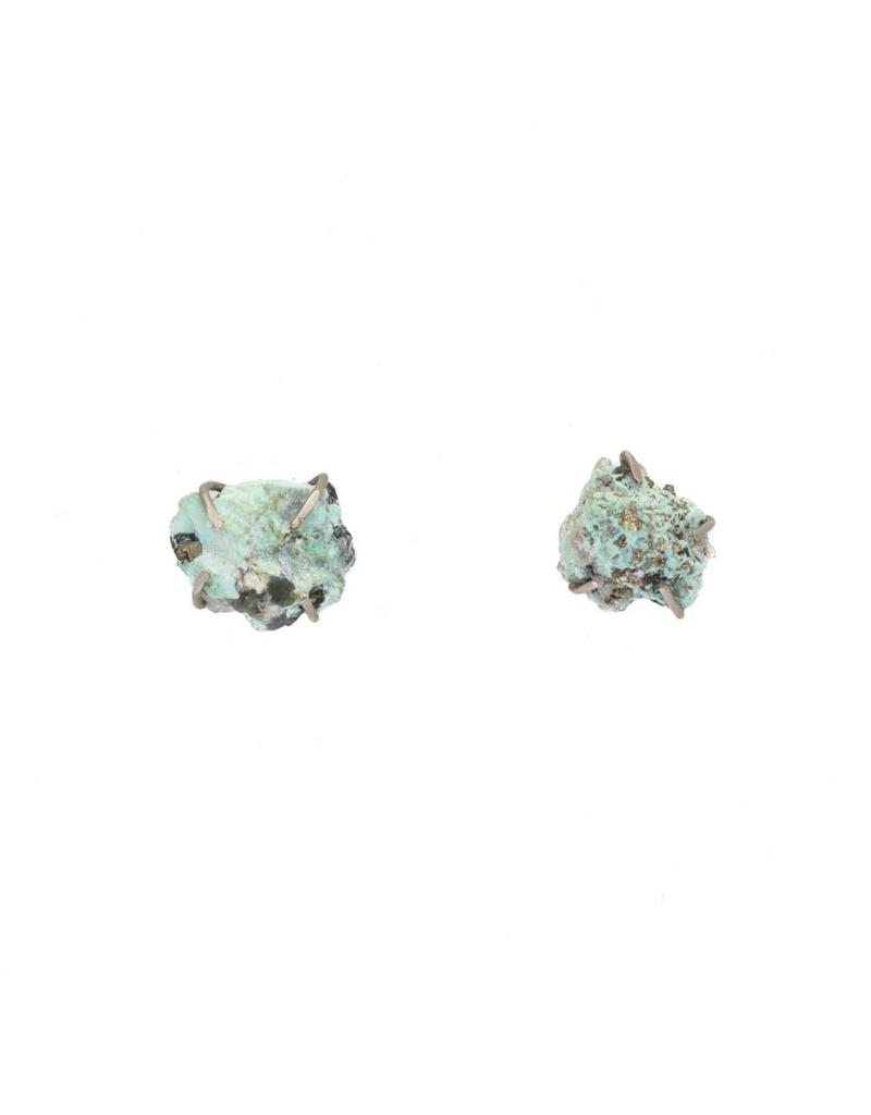 Turquoise Post Earrings in Silver and Palladium
