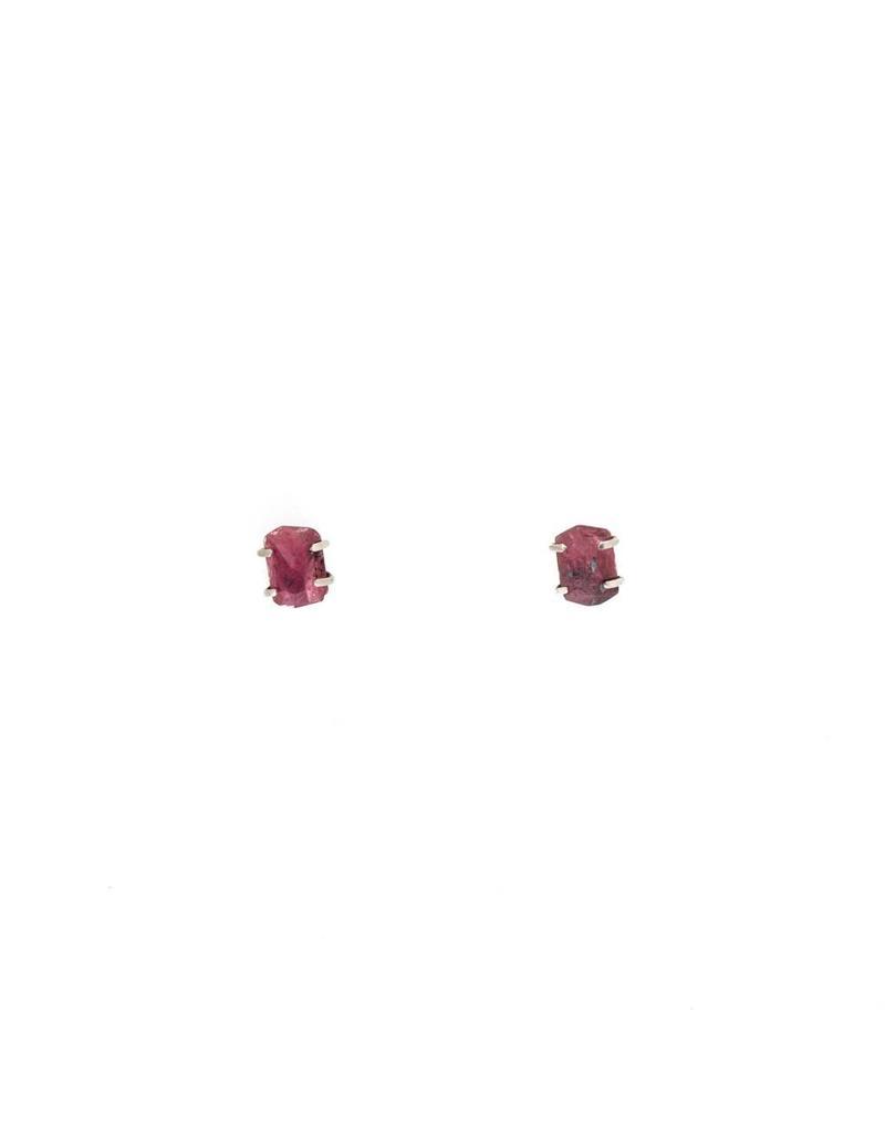 Tequila Cut Ruby Earrings in Oxidized Silver