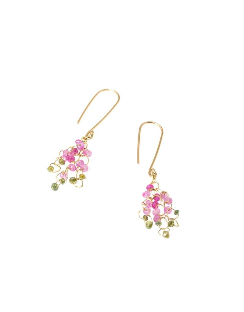 Medium Chandelier Earrings in Pink and Green