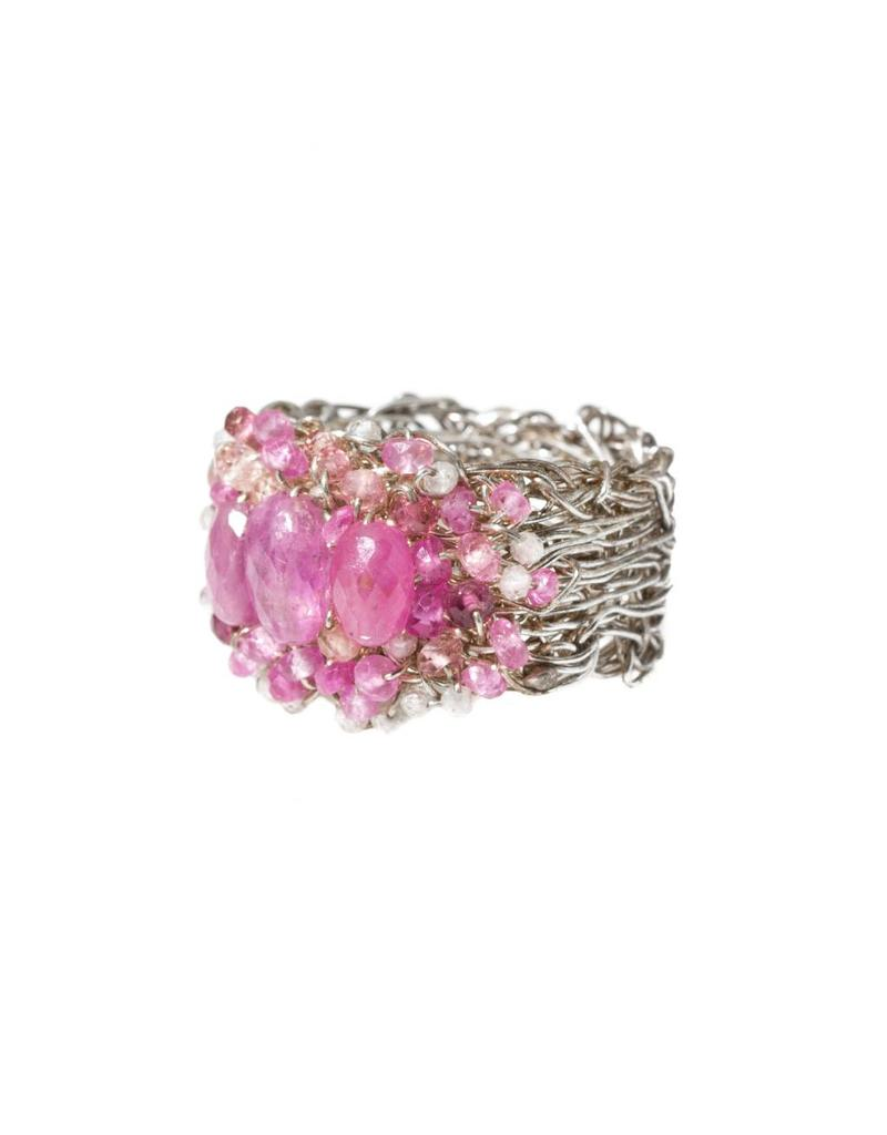 Woven Ring with Pink Sapphires in Silver