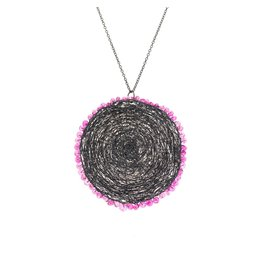 Black Disc Pendant with Pink Sapphires