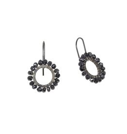 Black Quartz Bead Drop Earrings