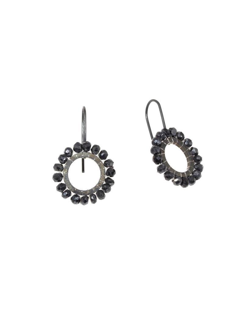 Black Quartz Bead Drop Earrings