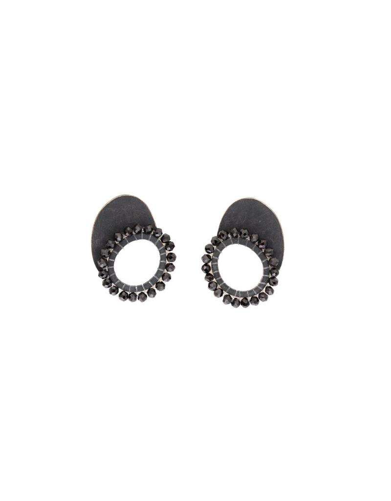 Black Quartz Oval and Circle Post Earrings