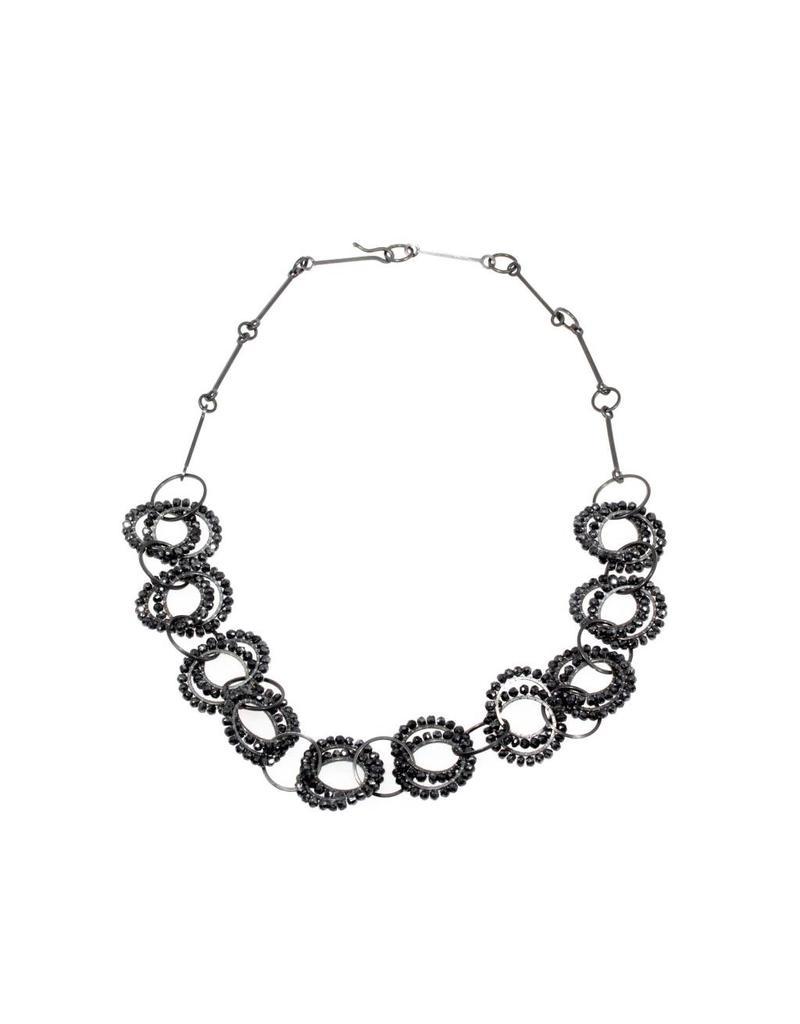 Oxidized Silver Necklace (short) with Mystic Black Quartz