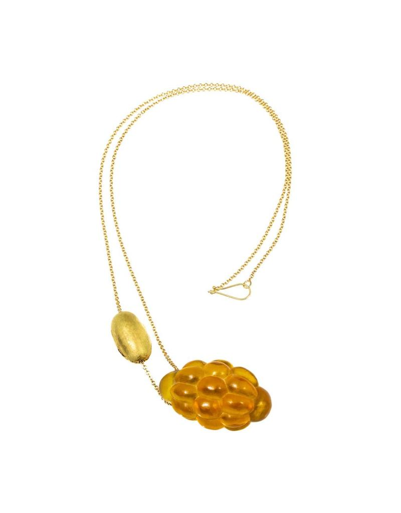 Christina Odegard Matin Amber Cluster with 18k Yellow Gold Rough Ovale Bead and Chain Necklace