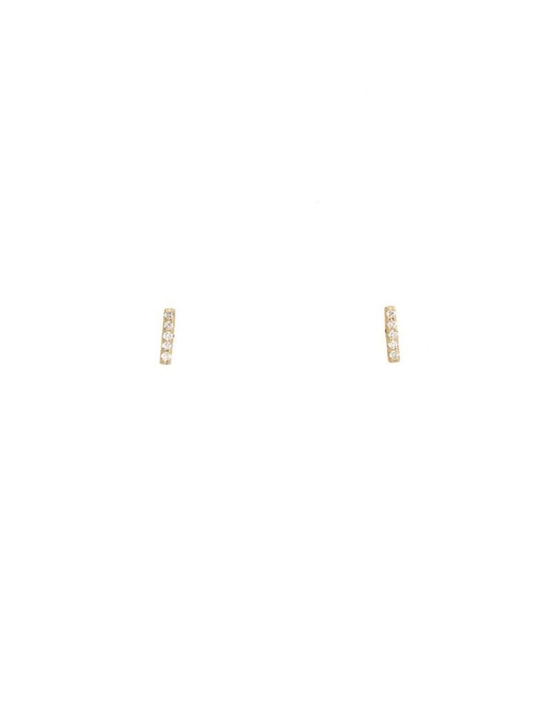 Diamond Stick Post Earrings in 14k Yellow Gold with White Diamonds