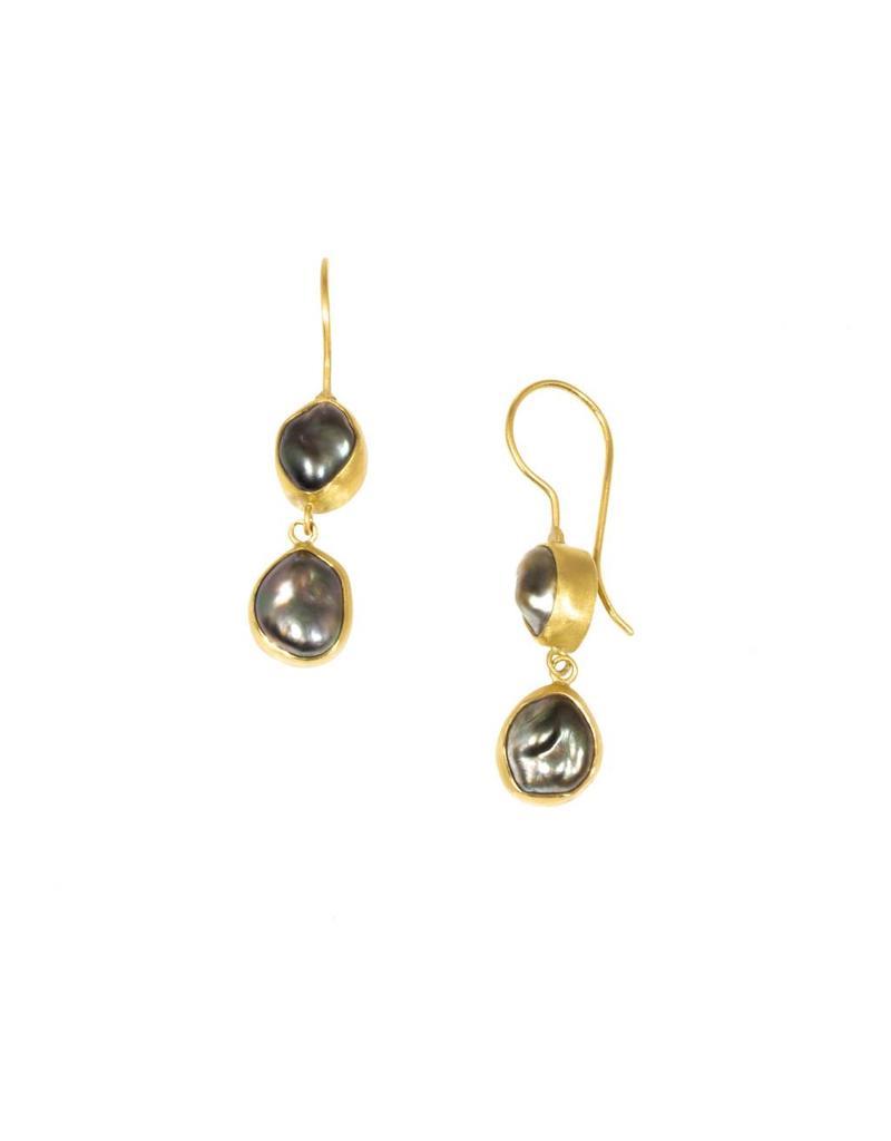 Double Keshi Pearl Earrings in 18k Yellow Gold