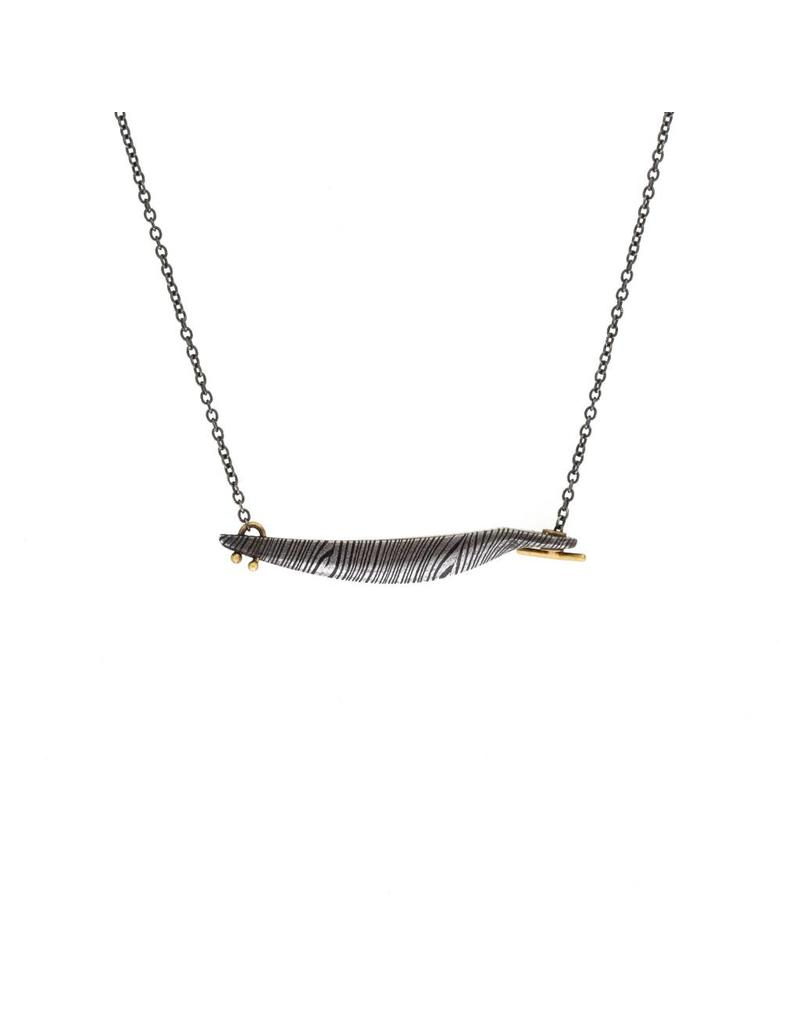 Curved Bar Necklace in Damascus Steel with18k Gold