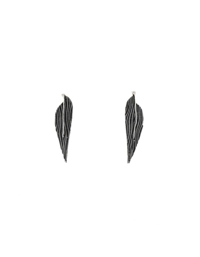 Little Leaf Post Earrings in Damascus Steel