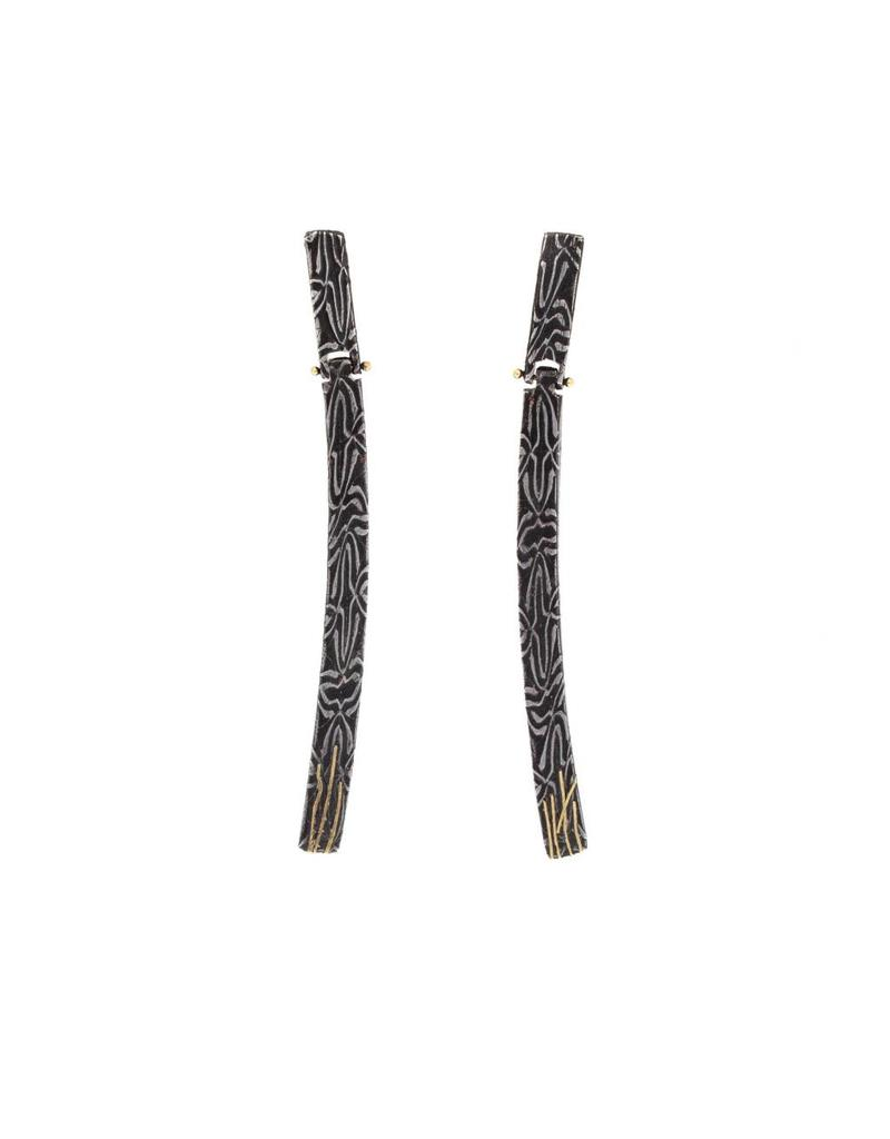Long Hinged Earrings in Damascus Steel with 18k Yellow Gold