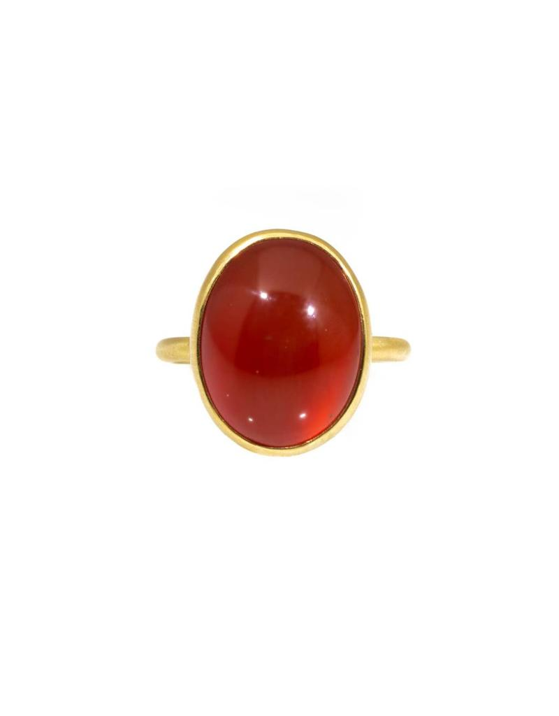 Orange Carnelian Ring in 18k Yellow Gold