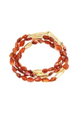 Red Quartz Necklace with Bronze Beads and Autumn Diamonds