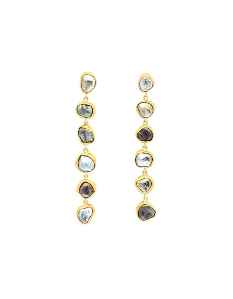 Six Keshi Pearl Post Drop Earrings