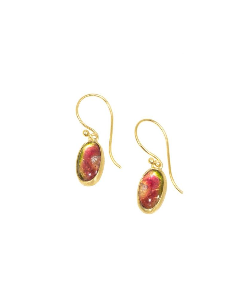 Oval Watermelon Tourmaline Drop Earrings in 18k Yellow Gold