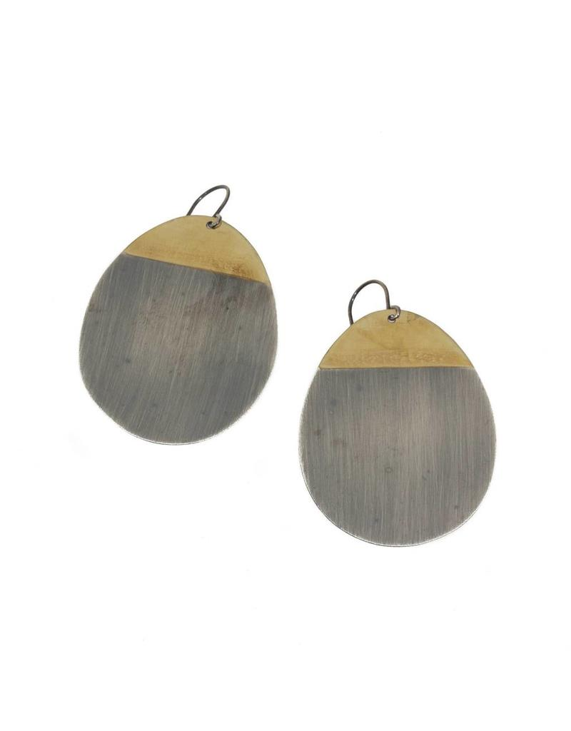 Teardrop Earrings in Silver and Brass