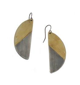 Half Moon Earrings in Silver and Brass
