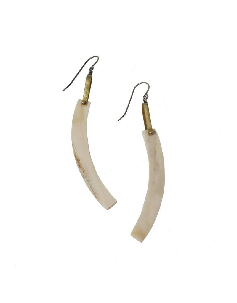 Antler Stick Earrings with Silver and Brass