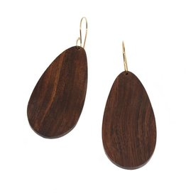 Long Teardrop Wood Earrings with 14k Yellow Gold