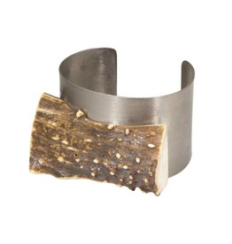 Rough Antler and Titanium Cuff