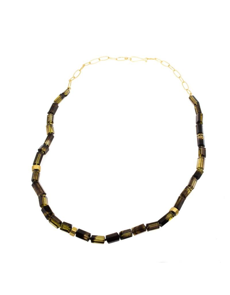 Smoky and Lemon Quartz Bead Necklace with 18k Yellow Gold Handmade Chain