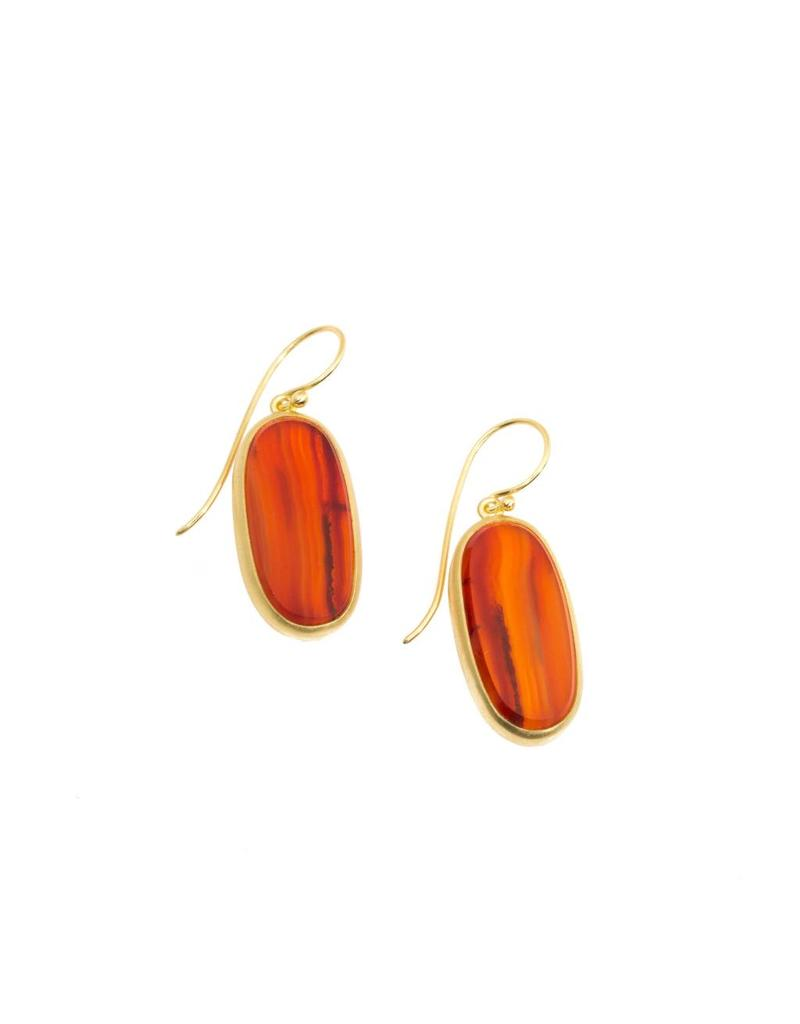 Oval Carnelian Earrings in 18k Yellow Gold
