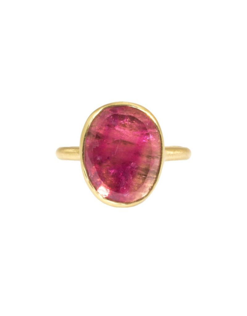 Larger Organic Shape Pink Tourmaline Ring in 18k Yellow Gold
