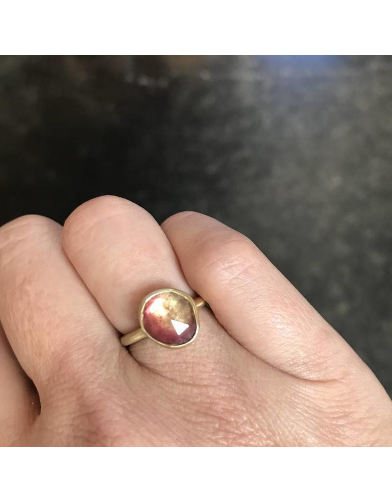 Organic Shape Two-Tone Pink Tourmaline Ring in 18k Yellow Gold