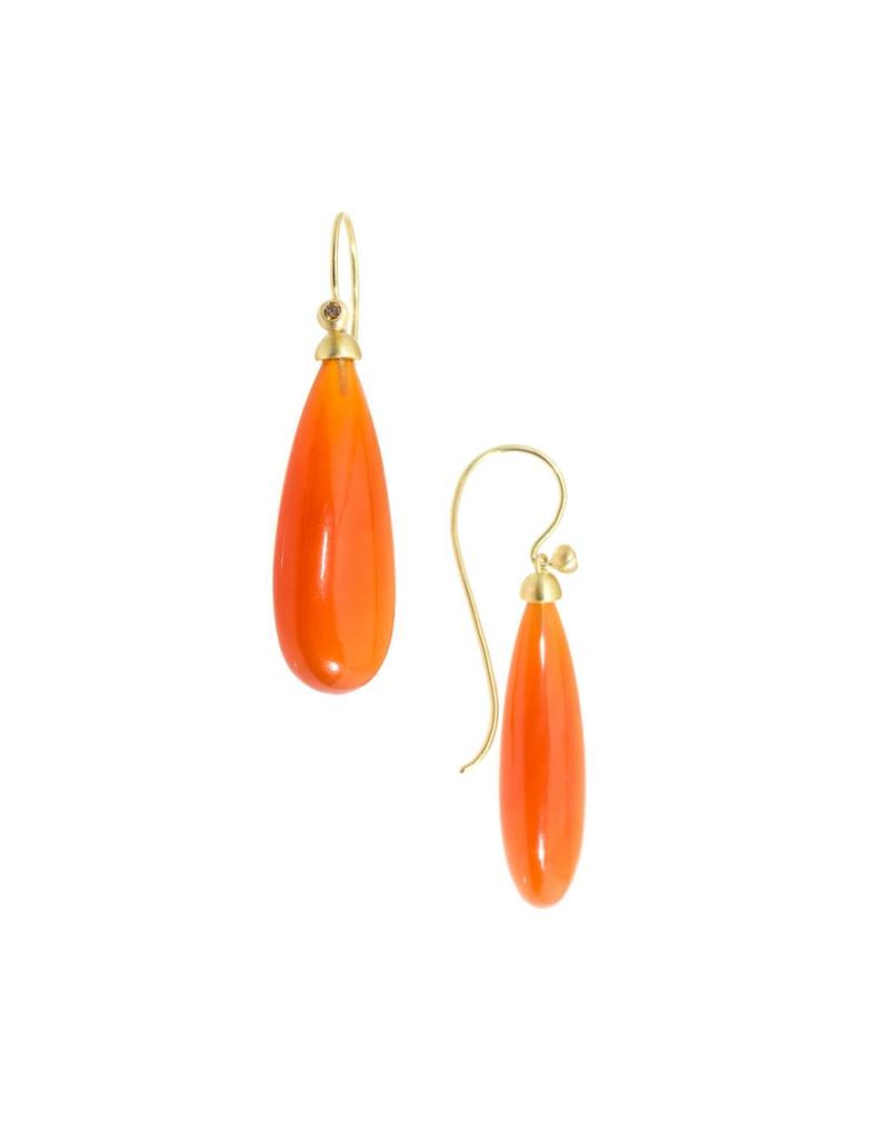 Carnelian Drop Earrings in 18k Yellow Gold
