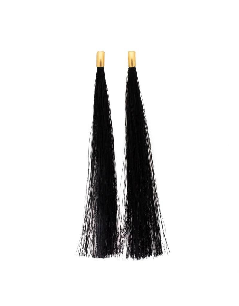 Black Horsehair Nova Drop Earrings