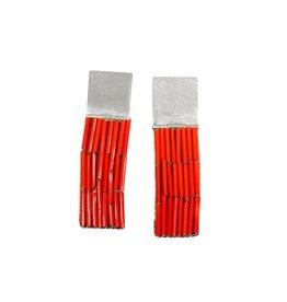 Red/Orange Glass Bead Rectangle Earrings