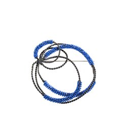 Blue Glass Bead Circle Brooch in Oxidized Silver