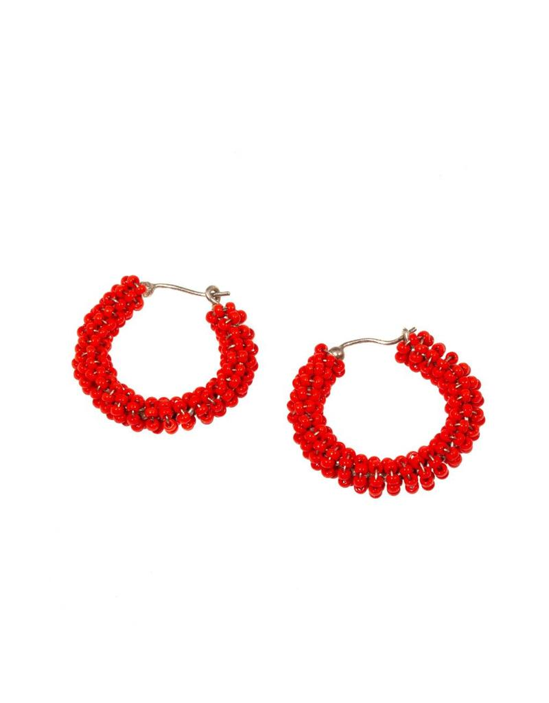 Red/Orange Glass Bead Hoop Earrings