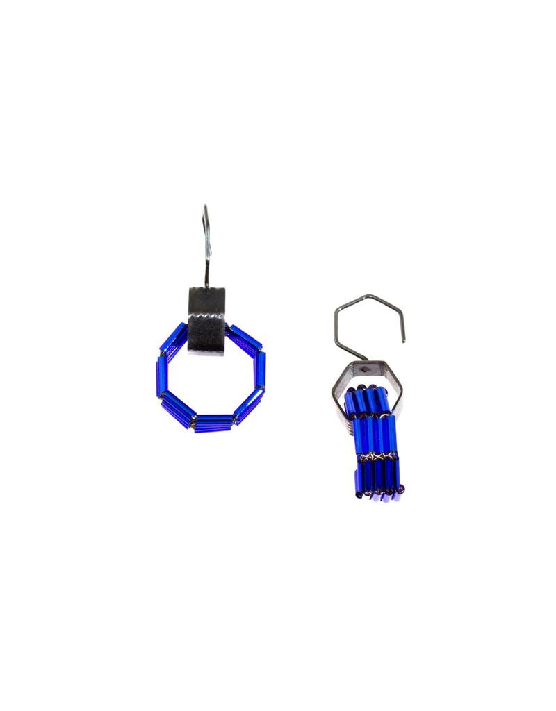 Blue Glass Bead Octagon Earrings in Oxidized Silver
