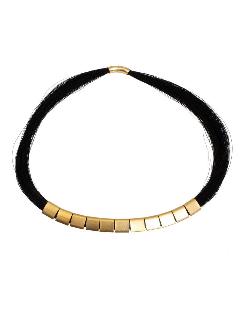 Long Black Horse Hair Necklace with Gold-Plated Findings