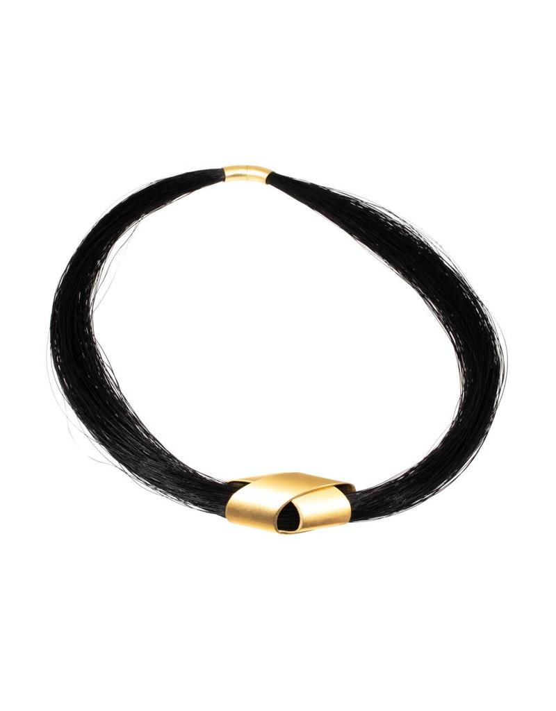 Endless Necklace with Black Horsehair and Gold Plated Elements